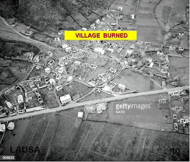 NATO photo which show an aerial view of of burned homes destroyed by Serbian forces in Kosovo April 13 1999