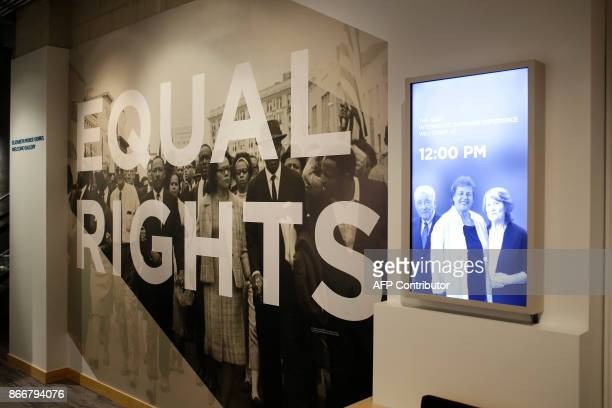 A photo with Martin Luther King Jr is displayed at the Take A Stand Center at the Illinois Holocaust Museum Education Center on October 26 2017 in...