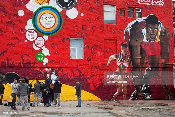 A photocall and media event with Mark Ronson and Katy B as they launch an urban wall painting as part of Move to the Beat CocaCola's London 2012...