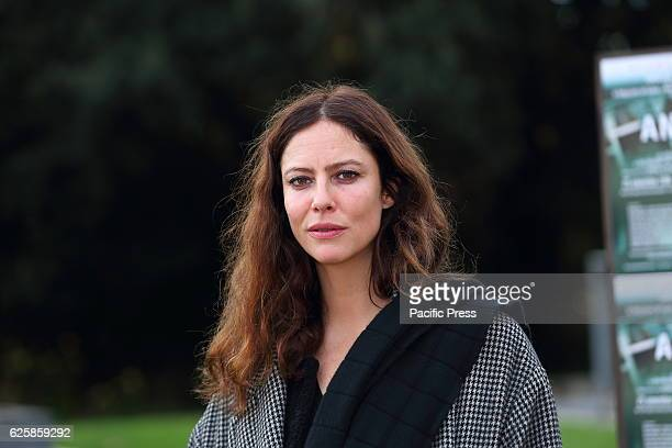 Photocall of French actress and model Anna Mouglalis protagonist of film Anna directed by CharlesOlivier Michaud