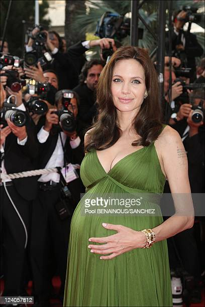 Photocall of 'Kung Fu Panda' at Cannes film festival In Cannes France On May 15 2008 Angelina Jolie and Brad Pitt Angelina Jolie is dressed by Max...
