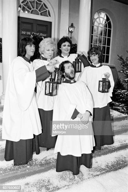 Photo-call to announce this years Christmas line-up and television schedule, BBC Studios, London, 2nd December 1981. Pictured, Isla St Clair, June...