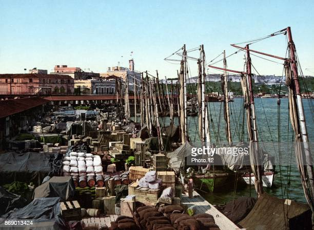 Photochrom print of Muelle San Francisco Havana Cuba Dated 1904