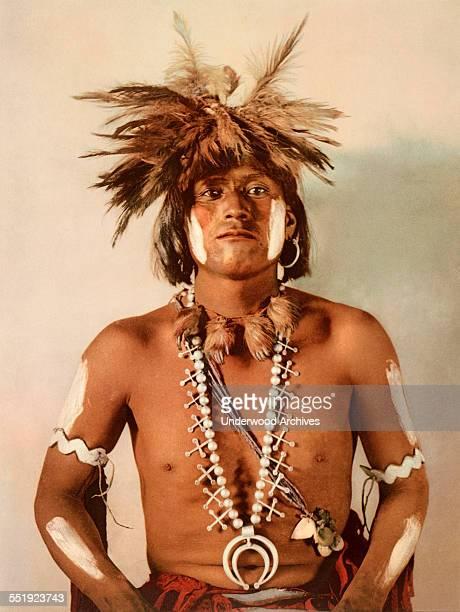 A photochrome by the Detroit Publishing Company of Taqul a Moki Native American snake priest Arizona 1902
