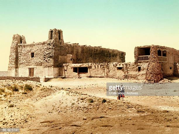 A photochrome from the Detroit Publishing Company showing the church Mission San Estevan del Rey at the Acoma Pueblo's Sky City Acoma Pueblo New...
