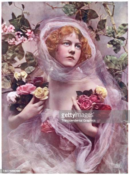 Photochrome image features an image of a model, draped in gauze and holding bouquets of roses, 1908.