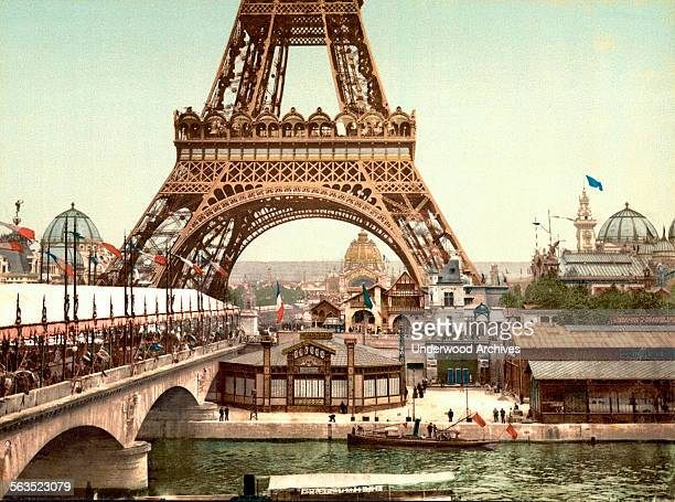 A photochrome of the Eiffel Tower and view of the grounds at the Exposition Universelle Paris France 1889