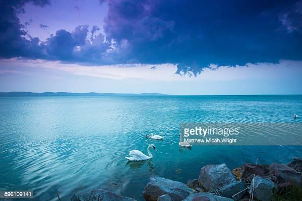 Photograph a sunset at Lake Balaton.