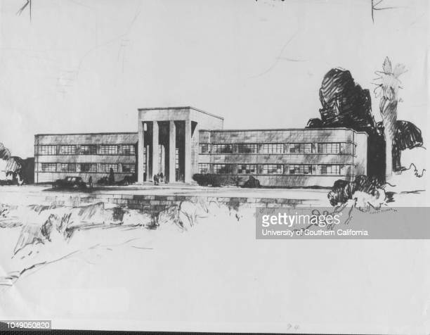 Photograph 'Architect's drawing of proposed $300000 building to house State Highways Division offices here Location would be at First Court Hill and...