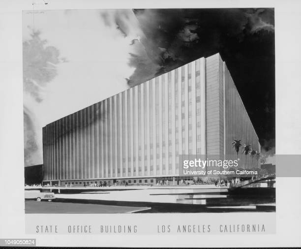Photograph 'Architect's sketch of new Los Angeles State office building Rentsaving edifice will rise 10 stories at First Street Broadway and Hill...
