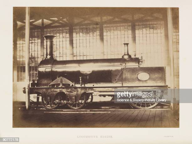 Photograph by ClaudeMarie Ferrier of a railway locomotive named 'Folkstone' manufactured by T R Crampton It was exhibited at the Great Exhibition of...