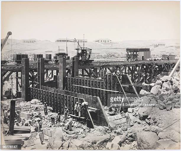 Photograph by D S George one of a series showing the building of the Aswan Dam In the late 19th century the growth of population and agricultural...