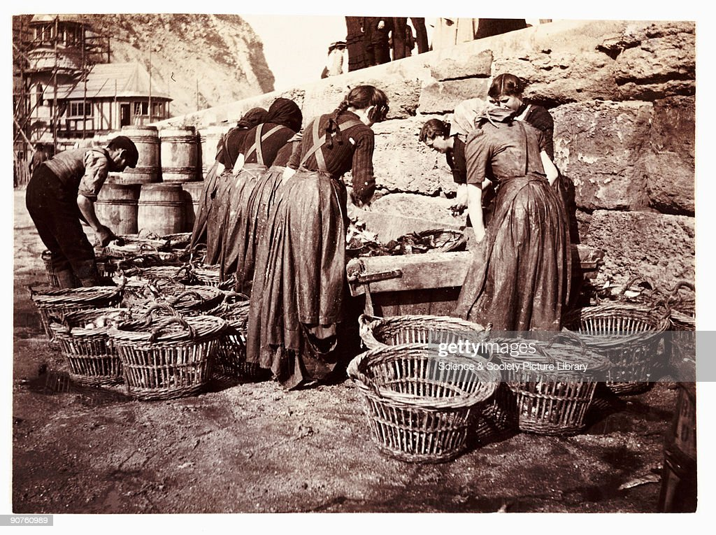 Women sorting the catch, Whitby, North Yorkshire, c 1905. : News Photo