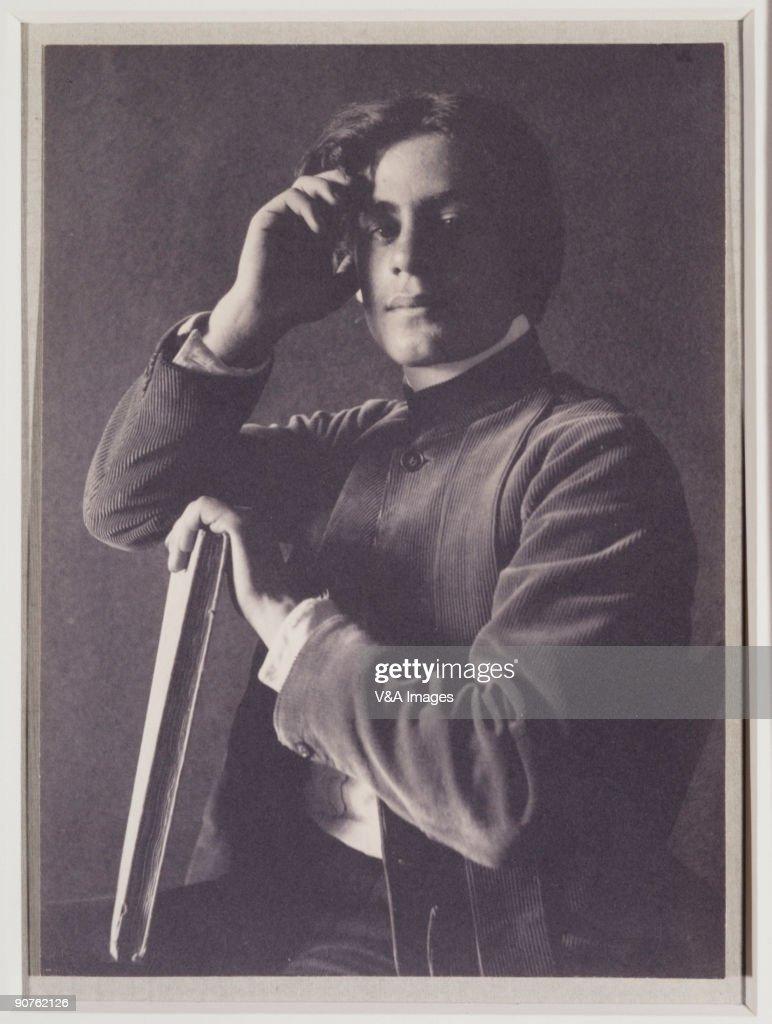 Kahlil Gibran with Book, 1897. : News Photo