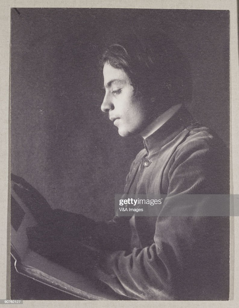 Kahlil Gibran with Book (side view), 1897. : News Photo