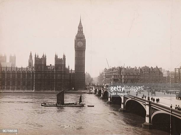 UNITED KINGDOM NOVEMBER 15 Photograph by Horace W Nicholls of the Palace of Westminster Big Ben horsedrawn traffic on Westminster Bridge and a Thames...
