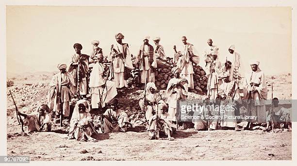 A photograph by John Burke [18451900] of a group of irregular soldiers taken in 1878 and published in the album 'The Afghan War Attogk to Jellalabad...