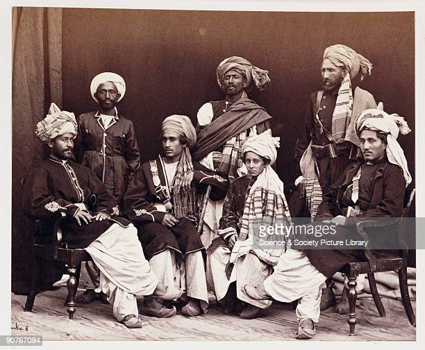 A photograph by John Burke [18451900] of a group of young Afghans sons of a tribal ruler taken in about 1878 and published in the album 'The Afghan...