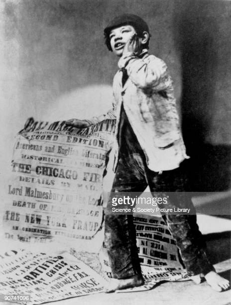 Photograph by Oscar Rejlander showing a newspaper boy holding a placard for the Pall Mall Gazette of Saturday 21 October 1871 The placard contains...