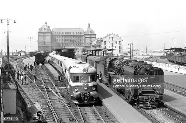Photograph by Peter Bawcutt showing diesel and steam powered locomotives This station is the largest in Turkey and was built by German architects...