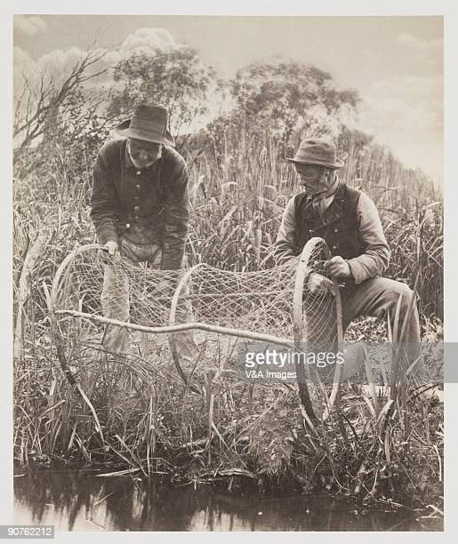 Photograph by Peter Henry Emerson showing two fishermen planting their bownet in the reeds to catch eels. This plate is taken from Emerson's first...