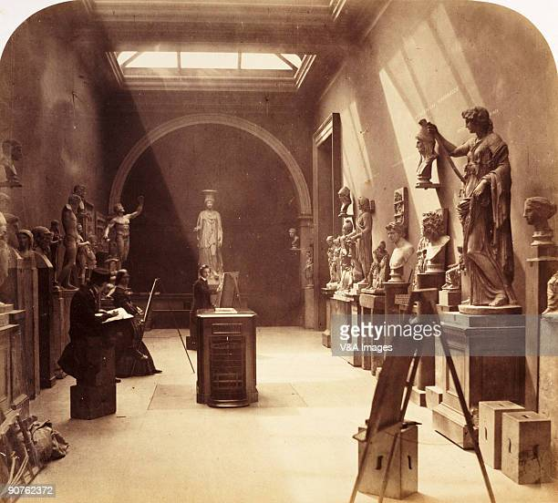 Photograph by Roger Fenton of art students drawing Classical sculptures