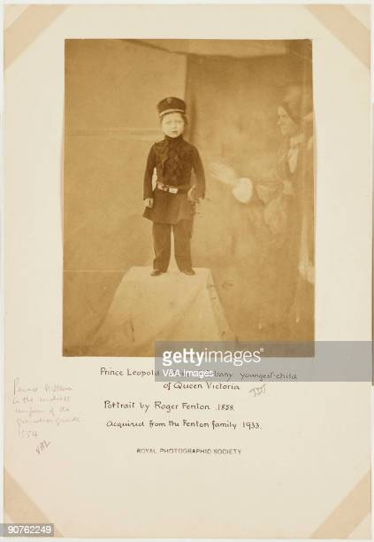 'UNITED KINGDOM JANUARY 26 Photograph by Roger Fenton of Prince Arthur the youngest son of Queen Victoria Standing on a plinth draped with cloth the...