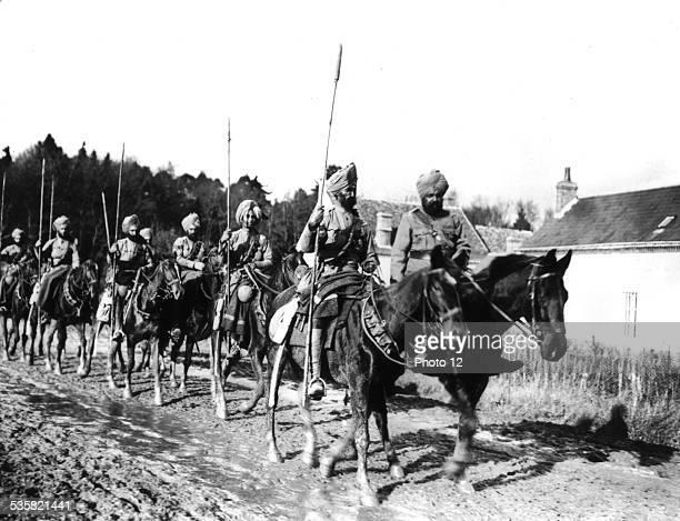 Photograph by Rol A patrol of Indian lancers near Amiens Autumn 1914 France World War I Paris Bibliothèque nationale