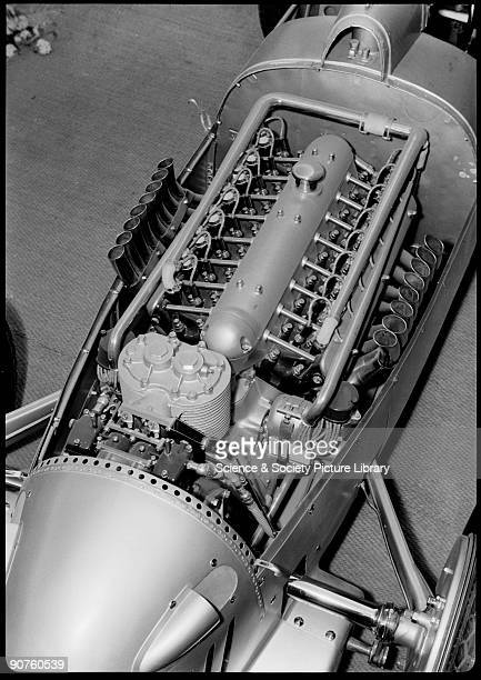 Photograph by Zoltan Glass Close up of an AutoUnion AType V16 racing car engine in display racing car showing the supercharger