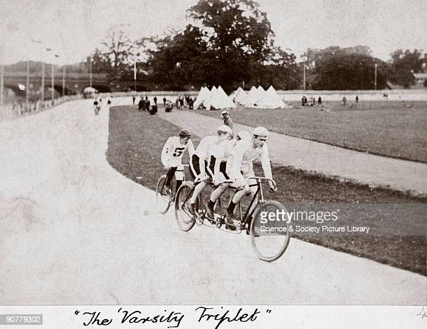Photograph from an album of images collected by Charles Stewart Rolls showing the Cambridge University triplet of Kenny Stewart and Rolls pacing...