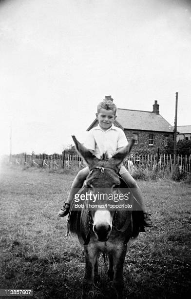 A photograph from Peter Shilton's family album featuring the future England goalkeeper riding a donkey circa 1955