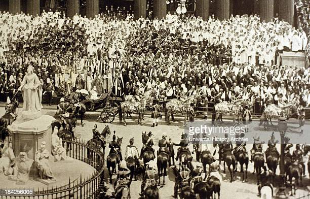 Photograph from Queen Victoria's Diamond Jubilee parade circa 1897 Celebrating 60 years of the monarch's reign Showing the crowds and the procession...