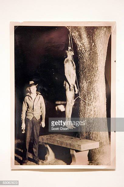 A photograph from the 1934 Marianna Florida lynching of Claude Neal hangs on the wall at an exhibit about lynching at the Chicago Historical Society...