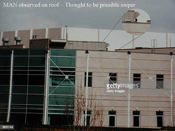 A photograph illustrating a possible sniper on Columbine High School's rooftop April 20 1999 in Littleton CO The photographs of the incident were...