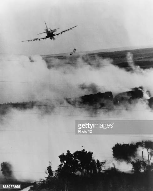 Photograph of a air raid attack on a Vietcong hideout near Cantho South Vietnam Bomb was dropped from a Vietnamese Air Force A1E Sky raider Dated 1967