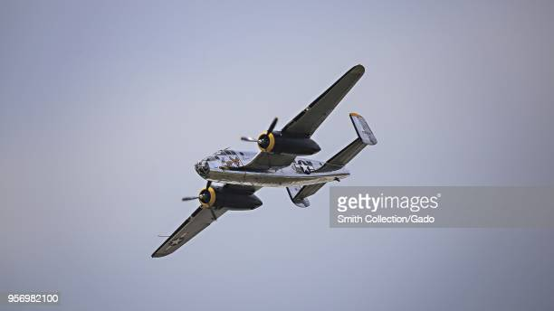 Photograph of a B25 Mitchell bomber flying during the Pines Open House and Air Show at Joint Base McGuireDixLakehurst New Jersey May 5 2018