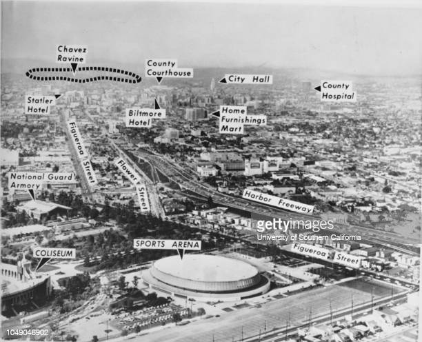 Photograph of a birdseye view of a site of 1960 Democratic Convention showing Los Angeles Coliseum Los Angeles Sports Arena I110 County Hospital and...
