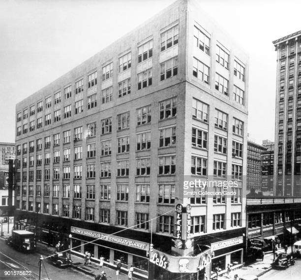 Photograph of a building on Peachstreet in downtown Atlanta Georgia where the Communicable Disease Center offices opened in 1946 on the sixth floor...