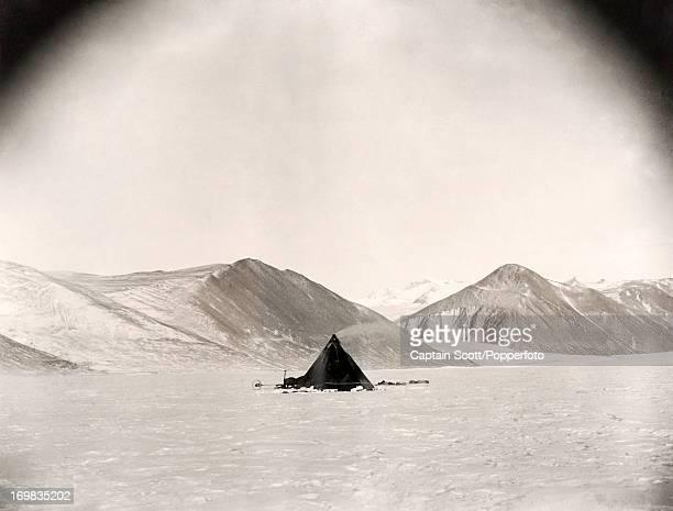 A photograph of a camp on the Ferrar Glacier taken during the last tragic voyage to Antarctica by Captain Robert Falcon Scott circa September 1911...