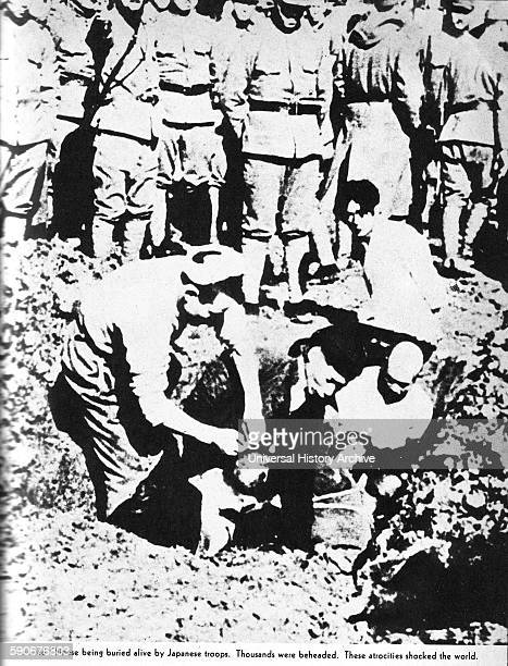 Photograph of a captured Chinese soldier being buried alive by Japanese troops Dated 1941