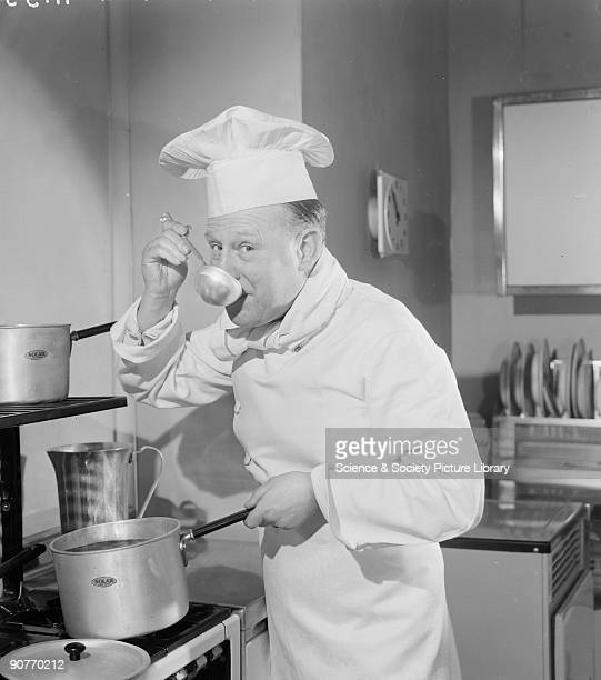 A photograph of a chef in his whites and distinctive hat tasting his cooking using a ladle taken by Photographic Advertising Limited in their studio...