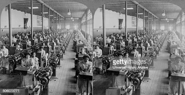 Photograph of a cigarette factory 'El Buen Tono' Mexico City, Mexico. Dated 1903 Photo by: