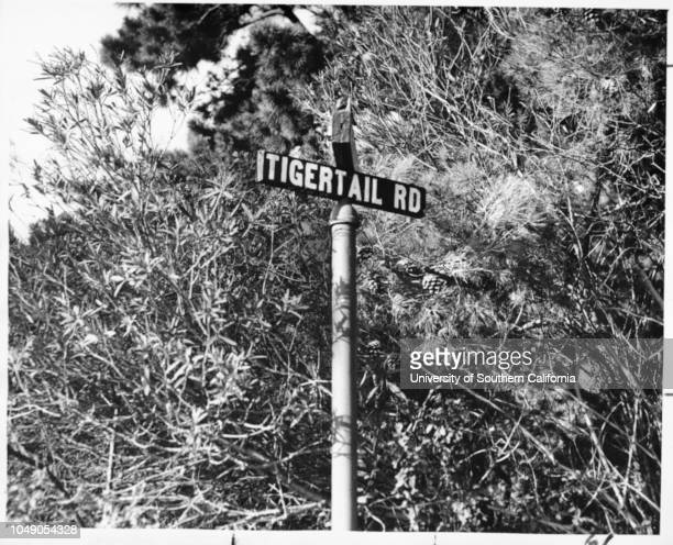 Photograph of a closeup of street sign for Tigertail Road which runs northsouth in the Brentwood Hills between Canna Road and Kenter Avenue 'A Los...