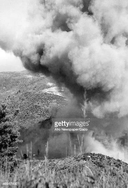 A photograph of a cloud of smoke after an explosion during the Korean War Korea 1951