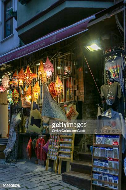 Photograph of a colorful storefront in a street market during the early evening Istanbul Turkey November 15 2017