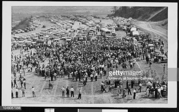 Photograph of a crowd gathered for the new Dodgers Stadium groundbreaking ceremony in Chavez Ravine Los Angeles 'A crowd estimated at more than 5000...