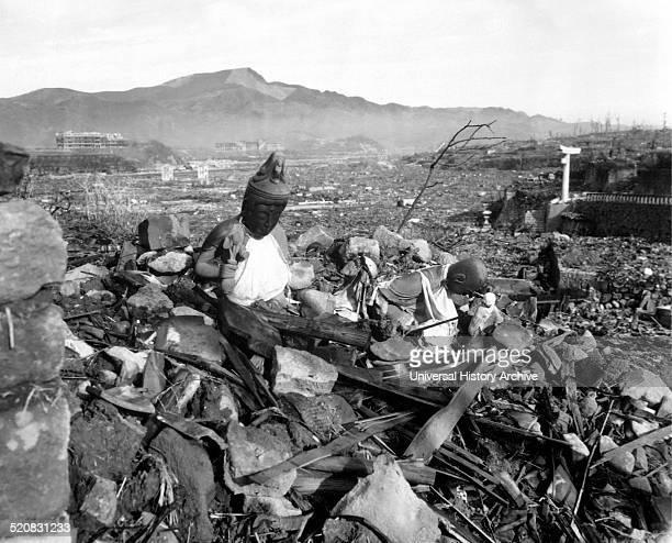 Photograph of a destroyed Nagasaki Temple after the atomic bombing of Hiroshima and Nagasaki. Dated 1945.