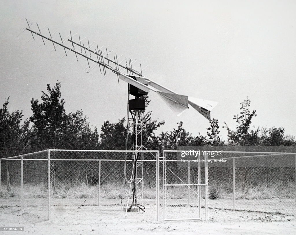 Photograph of a directional aerial for communication with manned orbiting satellites used in American space programme. The NASA station, Nigeria. Dated 20th century.