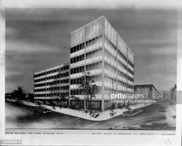 Photograph of a drawing 'New for Miracle Mile 6story offices at Wilshire and Ogden Drive $1000 project is first planned here by formerly Midwestern...