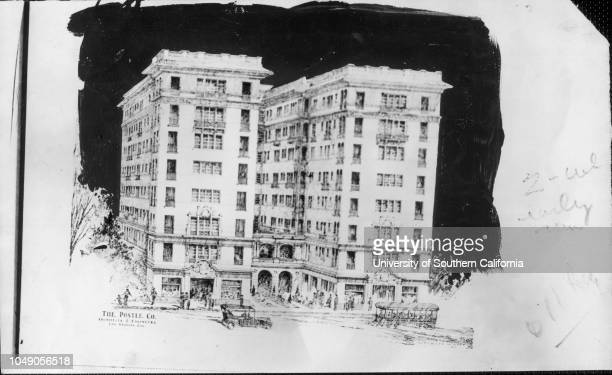 Photograph of a drawing of the Pasco Apartments 'Cal Pasadena Pasco Apartments File Calif Pasadena' handwritten note on verso dated...